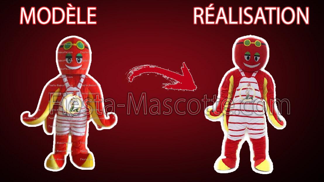 modèle et réalisation de la mascotte poulpe rouge