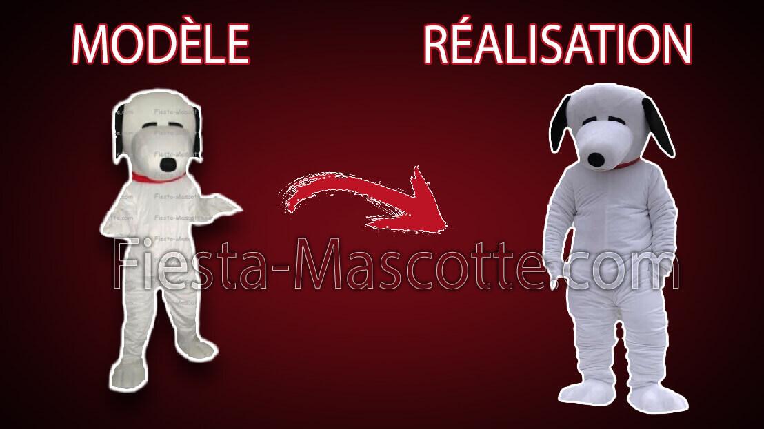 modèle et réalisation de la mascotte chien blanc