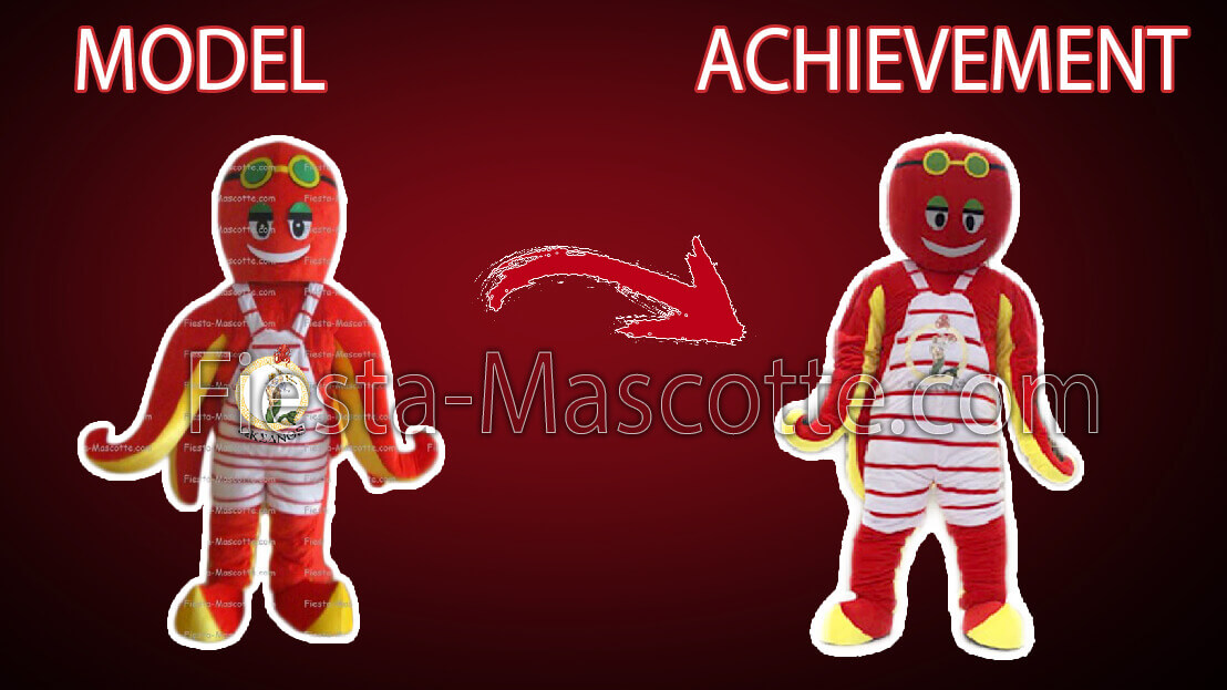 model and achievement mascot octopus red