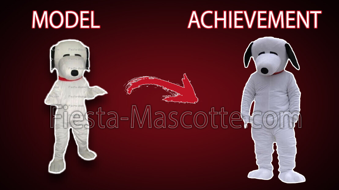 model and achievement white dog mascot